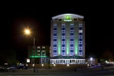 The Hotel pictured at night from the clock tower