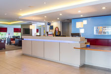 Arrive at Holiday Inn Express Swindon West\'s stylish lobby
